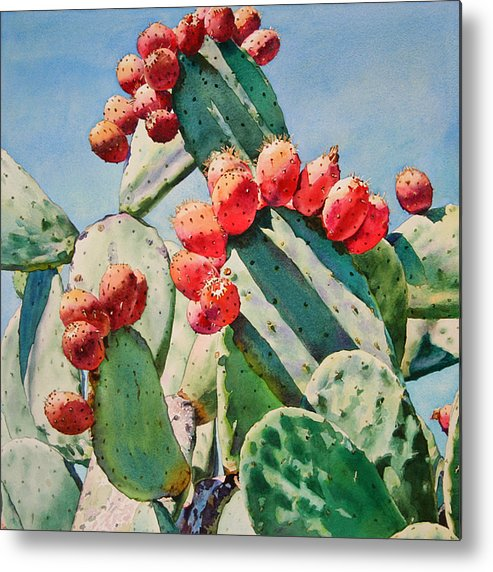 Bold Red Cactus Apples Metal Print featuring the painting Cactus Apples by Kathleen Ballard