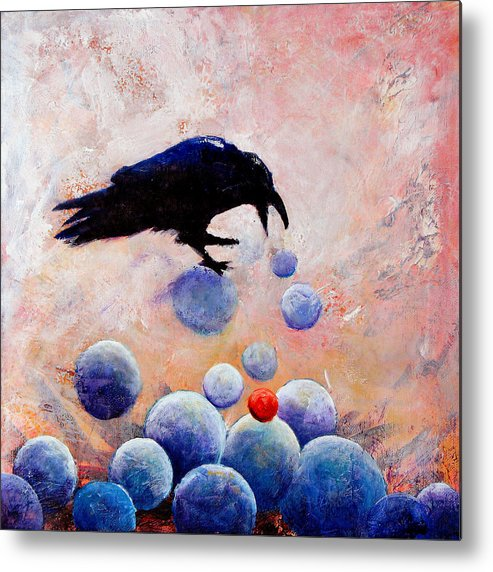 Raven Metal Print featuring the painting Foot-falls Tinkled by Sandy Applegate