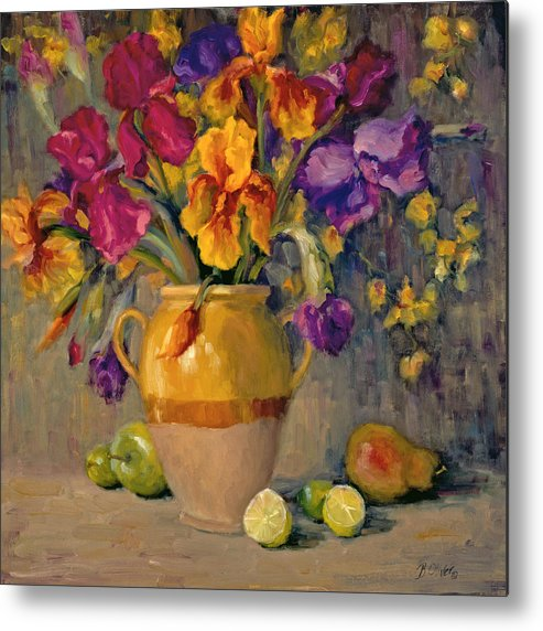Still Life Metal Print featuring the painting Iris Rhapsody by Bunny Oliver