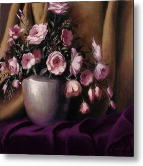 Flowers Metal Print featuring the painting Lavander And Pink Flowers In Silver Vase by Stephen Lucas