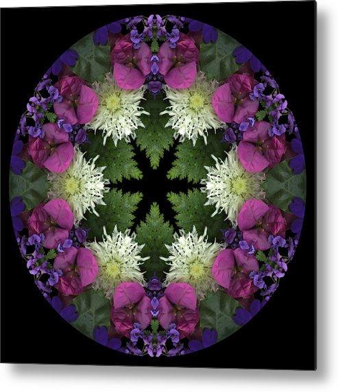 Mandala; Floral; Botanical; Scanner Photography; Scanography; Magenta; Pink; Green; Leaves; Metal Print featuring the photograph Mandala 3 by Marsha Tudor