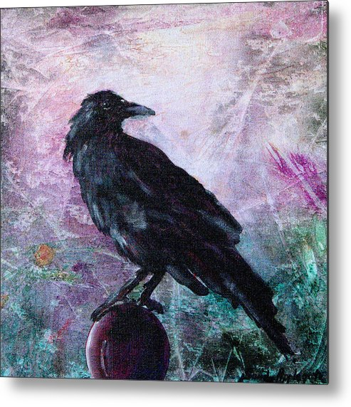 Raven Metal Print featuring the painting Not A Feather Then He Fluttered by Sandy Applegate