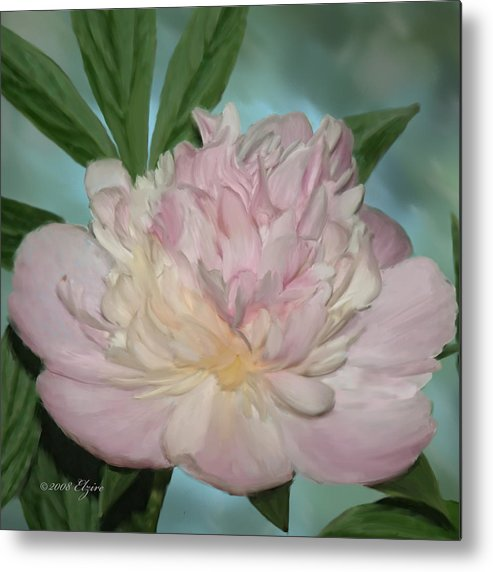 Pink Peony Metal Print featuring the painting Pink Peony by Elzire S