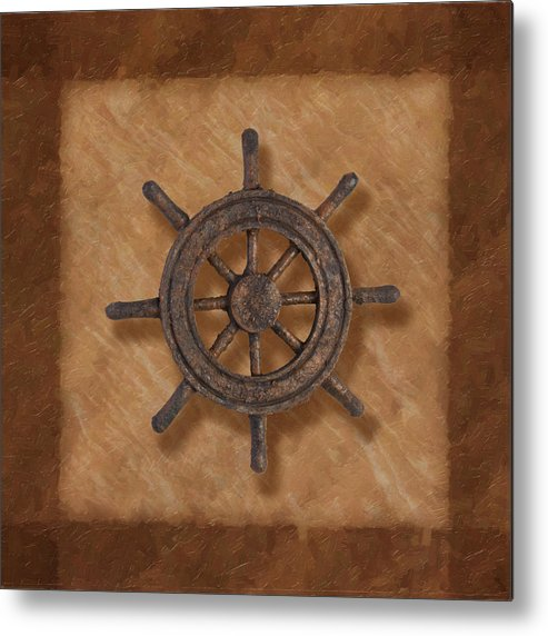 Wheel Metal Print featuring the photograph Ship's Wheel by Tom Mc Nemar