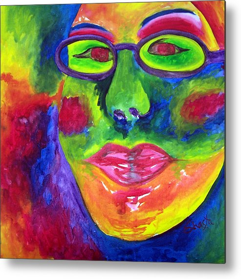 Vivid Portrait Contemporary Metal Print featuring the painting The Fashionista by Shasta Miller