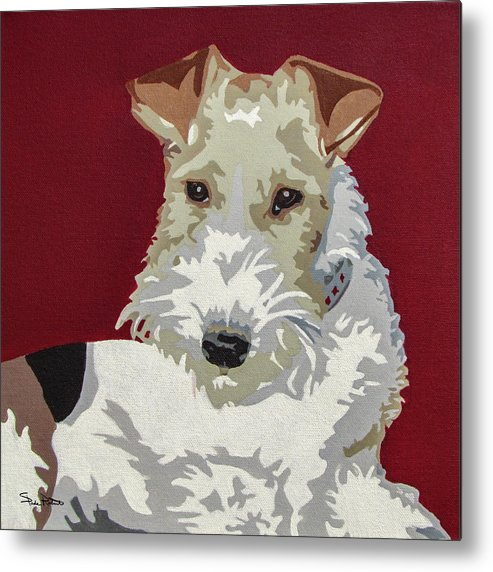 Wire Fox Terrier Metal Print featuring the painting Wirehaired Fox Terrier by Slade Roberts