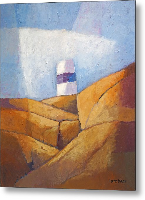 Coast Metal Print featuring the painting Cliffs And Beacon by Lutz Baar