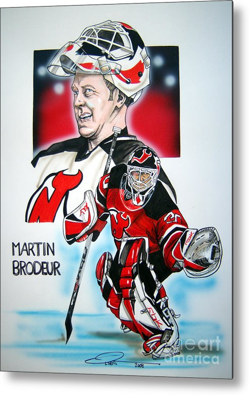 Nhl Metal Print featuring the painting Martin Brodeur by Dave Olsen