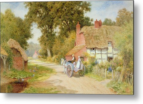 Horse And Cart; Thatched Cottage; Thatch; Half-timbered; Country Lane; Rural; Duck Pond; Ducks; Victorian; Countryside Metal Print featuring the painting A Warwickshire Lane by Arthur Claude Strachan