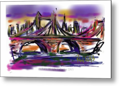 City Metal Print featuring the painting Brooklyn Bridge At Sunset by Richard Wright Galleries
