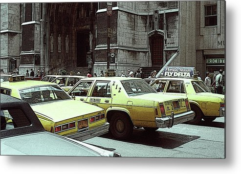 New York Metal Print featuring the photograph Cab Central by Julie Acquaviva Hayes