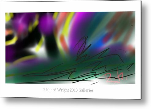 Abstract Metal Print featuring the digital art La Purple And Gold by Richard Wright Galleries