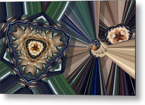 Abstract Metal Print featuring the digital art Layered Divergence by Ron Bissett