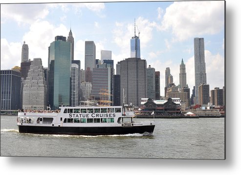 Manhattan Skyline Metal Print featuring the photograph Manhattan Skyline With Boat by Diane Lent