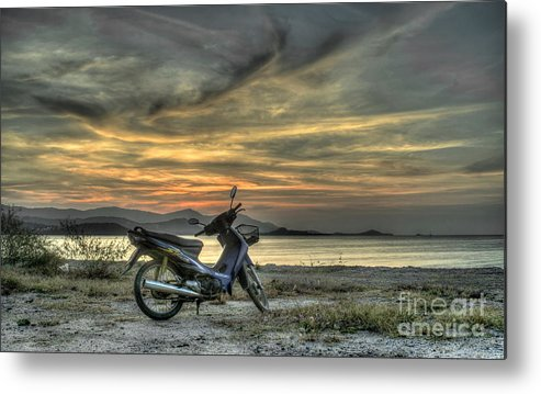 Michelle Meenawong Metal Print featuring the photograph Motorbike At Sunset by Michelle Meenawong