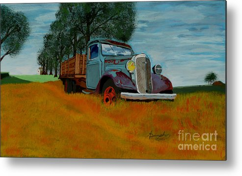 Truck Metal Print featuring the painting Out To Pasture by Anthony Dunphy