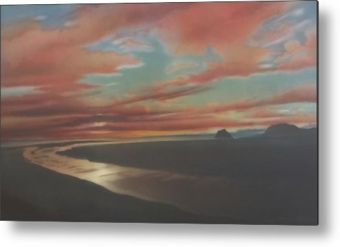 Rivermouth Acrylic Painting Serene Sunset Dramatic Headlands California Coast Calm Beautiful Estuary Indian Summer California Dream Colorful Twilight Central California Southern California Northern California Mysterious Reflections Metal Print featuring the painting Rivermouth by Mark Leavitt