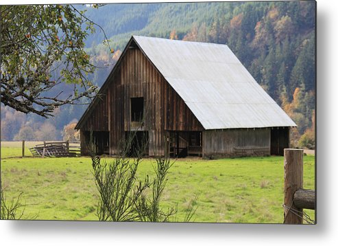 Wood Metal Print featuring the photograph Sheep Barn by Katie Wing Vigil