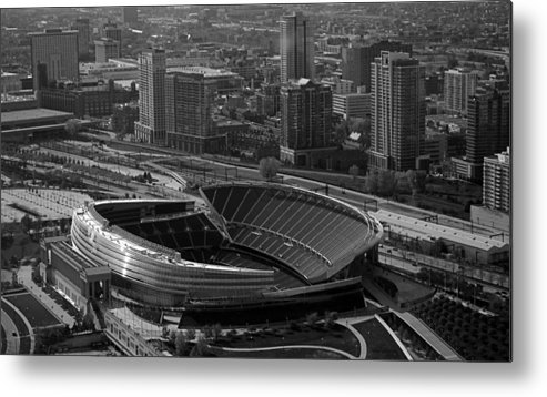 Chicago Metal Print featuring the photograph Soldier Field Chicago Sports 05 Black And White by Thomas Woolworth