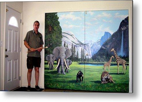 Mural Metal Print featuring the painting Yosemite Dreams Mural On Doors by Frank Wilson