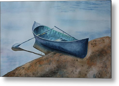 Canoe Metal Print featuring the painting Solitude by Patsy Sharpe