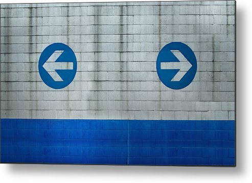 Horizontal Metal Print featuring the photograph Two Arrows On A White Wall by Stefano Oppo