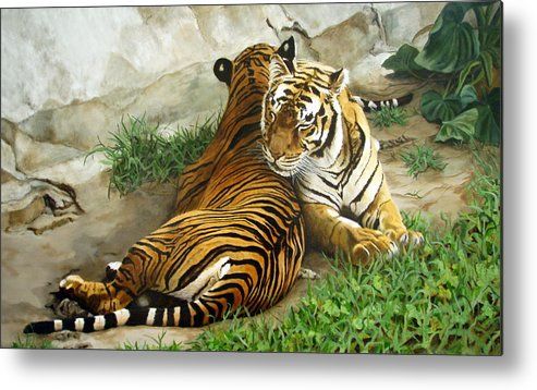Tiger Metal Print featuring the painting Wild Content by Sandra Chase
