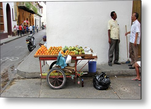 Colombia Metal Print featuring the photograph Colombia Fruit Cart by Brett Winn