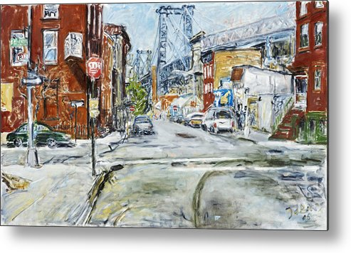City Scape New York Bridge Road Houses Cars Metal Print featuring the painting Williamsburg3 by Joan De Bot