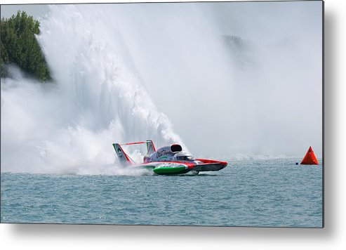 Annual Event Metal Print featuring the photograph Roostertail From Racing Hydroplanes Boats On The Detroit River For Gold Cup by Bruce Beck