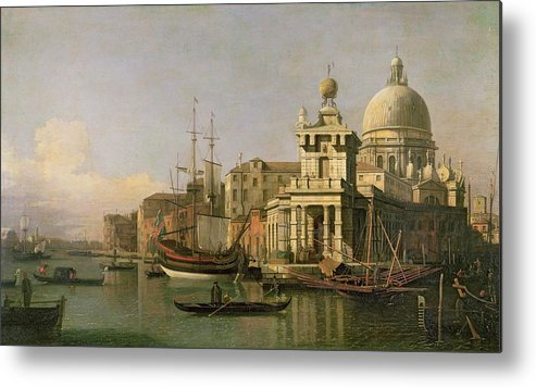 A View Of The Dogana And Santa Maria Della Salute Metal Print featuring the painting A View Of The Dogana And Santa Maria Della Salute by Antonio Canaletto