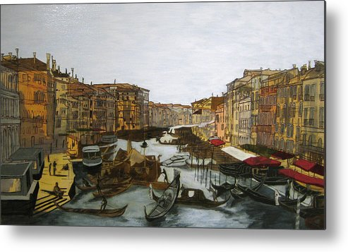 Landscape Metal Print featuring the painting After The Grand Canal by Hyper - Canaletto