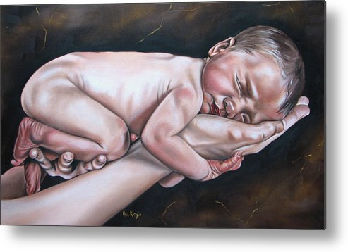 Figure Metal Print featuring the painting Baby by Ilse Kleyn