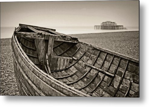 Britain Metal Print featuring the photograph Beached At Brighton In Sepia by Tony Grider