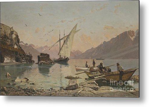 Fran�ois Bocion 1828 - 1890 Bord Du Lac A Rivaz Metal Print featuring the painting Bord Du Lac A Rivaz by Celestial Images
