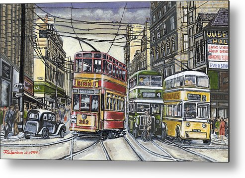 Cityscape Metal Print featuring the painting Buses Trams Trolleys by James Richardson