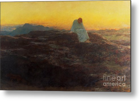 Christ In The Wilderness Metal Print featuring the painting Christ In The Wilderness by Briton Riviere