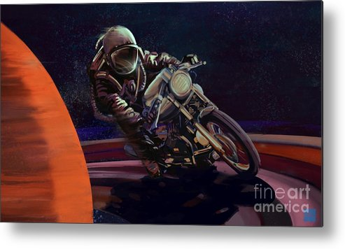 Cafe Racer Metal Print featuring the painting Cosmic Cafe Racer by Sassan Filsoof