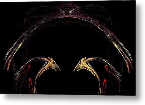Bird Metal Print featuring the digital art Duel by Dom Creations