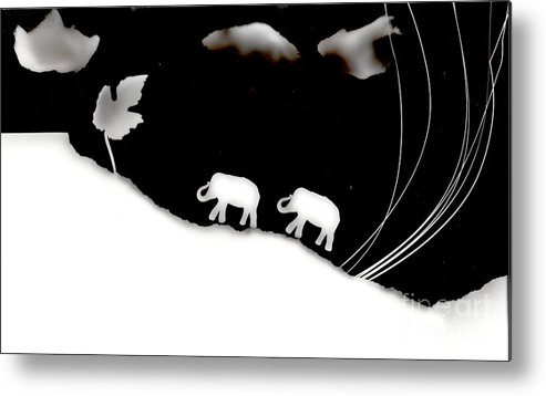 Photogram Metal Print featuring the photograph Elephants by Sascha Meyer