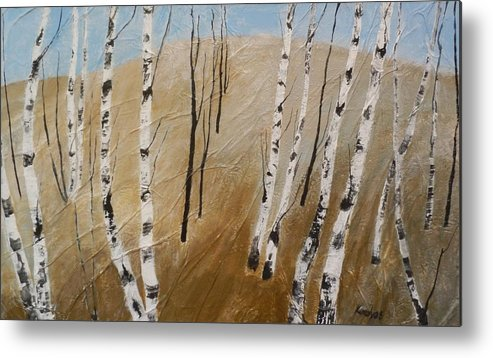 Field Metal Print featuring the painting Field With Birches by Maria Karalyos