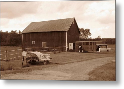 Barn Metal Print featuring the photograph Firewood For Sale by Rhonda Barrett