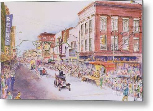 Print Greensboro History Metal Print featuring the painting Greensboro Christmas Parade 1960 by Maggie Clark