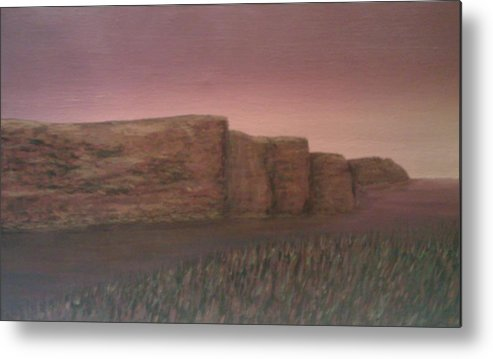 Landscape Cliffs Ireland Metal Print featuring the painting Ireland - Cliffs Of Moher by Sally Van Driest