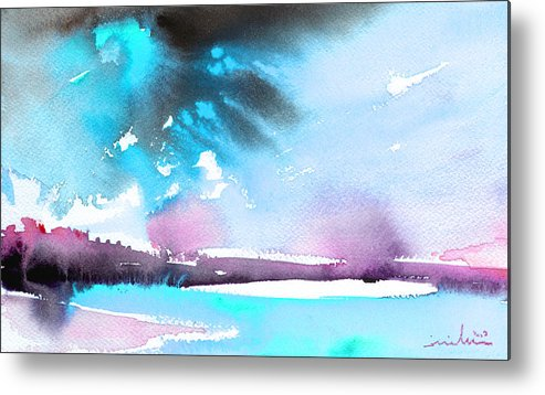 Watercolour Landscape Metal Print featuring the painting Late Afternoon 16 by Miki De Goodaboom