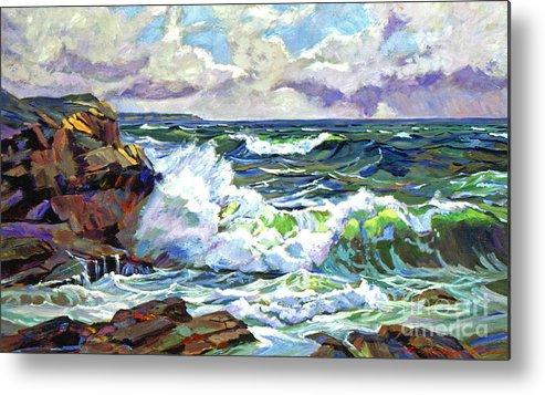 Ocean Metal Print featuring the painting Malibu Cove by David Lloyd Glover
