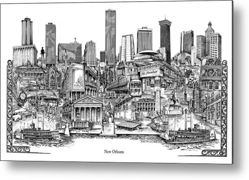 City Drawing Metal Print featuring the drawing New Orleans by Dennis Bivens