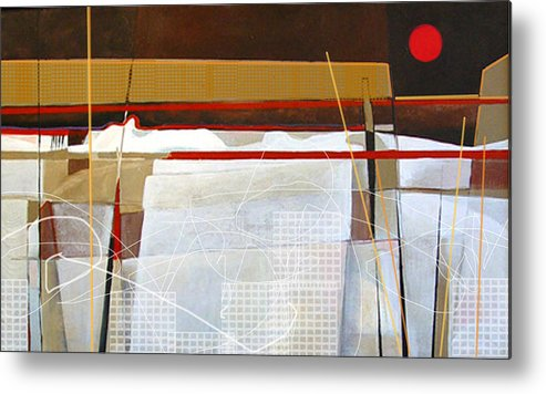 Abstract Metal Print featuring the painting Oyster Farm by Dale Witherow