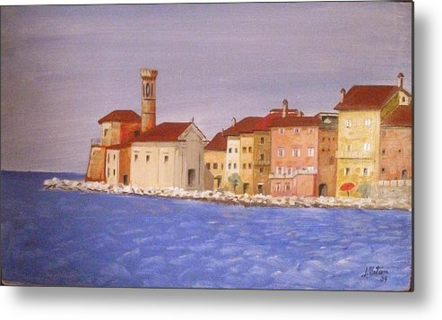 Lighthouse Metal Print featuring the painting Piran The Lighthouse by Anthony Meton