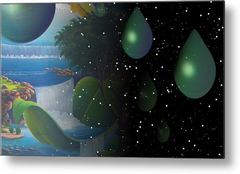 Suarrealism Metal Print featuring the painting Planet Water by Leomariano artist BRASIL